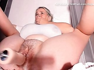 Huge Breasted Fat Pussy Cums and Creams All Over Mechanical Dildo With Shaking Orgasms
