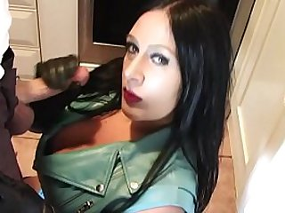 Goth girl playing around with big curvy huge tits sucks dick in leather jacket