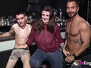 A lesbian babe, a Gay dude and Jordi Enp have threesome together