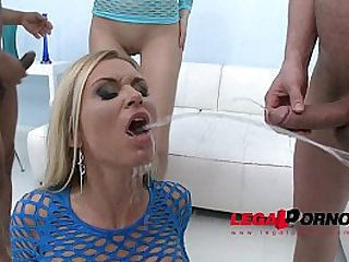 Piss drinking sluts Karina Grand Laura Crystal two horny party hot girls have sex orgy with guys and