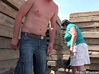 Ugly grandma with inch nipples fucked outdoors