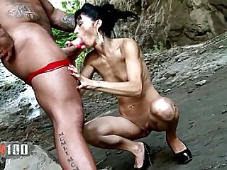 Skinny mature milf getting fucked in the ass by huge cock body builder