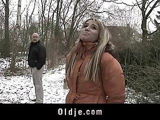 Old man fucking blonde amateur teen