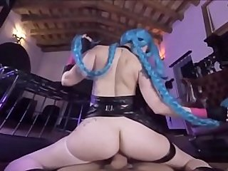 Hot Jinx Cosplay uses Super Mega Death Cumshot