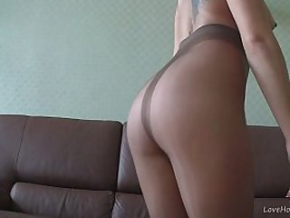 Blonde in nylons teasing on webcam