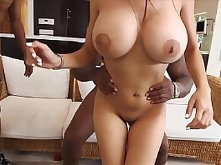 Busty muslim girl fucking with huge boobs gets fucked by two black guys.