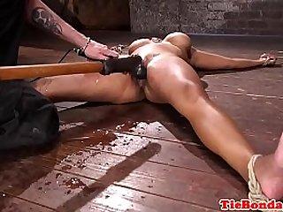 Ebony bdsm sub squirts while being toyed