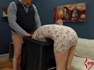 Goth girl gets anal punishment and facefucking in the garbage