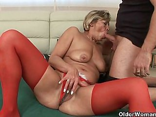 Grandmas pussy fucked by her toy boy