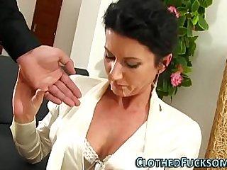 Elegant lady takes a huge facial