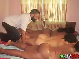 Slotting My Big Dick in Three Sleeping Sisters Ass and Pussy NOLLYPORN