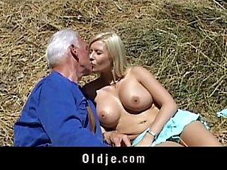 Old farmer man gets her cunt fucked by blonde babe