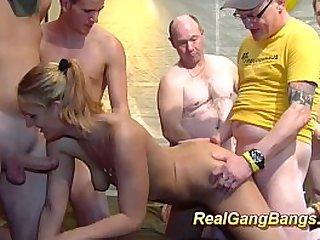 sucking fucking dongs in gangbang