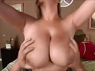 Chicks with her huge round tits being squeezed while being fucked