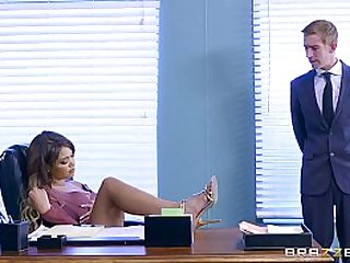 Cassidy Banks gets some big white cock at work
