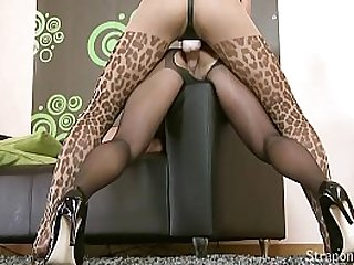 With hard long, brown hair girl loves wearing a hulky strap on dildo fucking her way through pussy after delicious pussy.