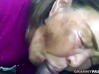 Asian Granny Sucks huge Black Cock In The Car