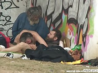 Pure Street Life Homeless Threesome Having Sex on Public