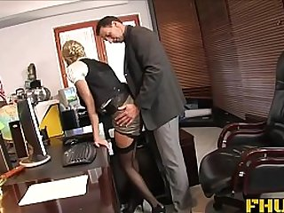 Fhuta Caught with finger in pussy she gets her throat fucked by the boss