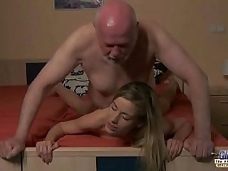 Young Secretary evaluation old man boss fucks beautiful horny young black girl