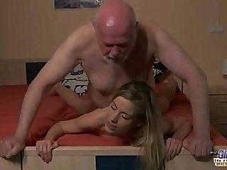 Young Secretary evaluation old man boss fucks beautiful horny young black girl