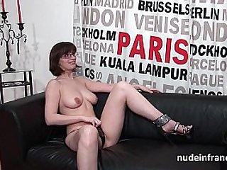 Pretty amateur brunette with big tits fucked hard banged for her porn casting couch