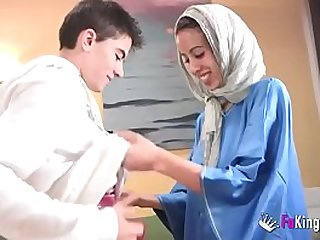 We surprise Jordi by gettin him his first Arab girl! Skinny brunette teen hijab