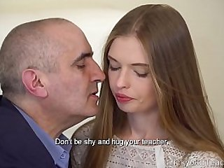 Tricky Old Teacher Sexy babe gives her old teacher a fantastic blowjob