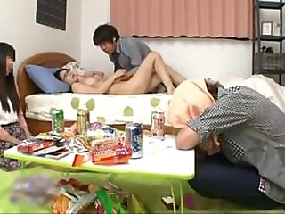 Japanese schoolgirl with natural tits fucking a friend while her boyfriend sleep