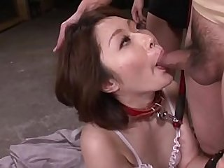 Mature asian blows three studs in a foursome on her knees