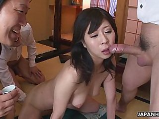 New office lady getting used to three cocks