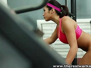 TheRealWorkout Busty Asian gym babe tight wet pussy fucked