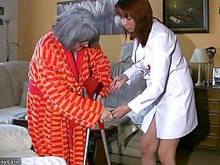 BBW chubby Nurse with old Granny