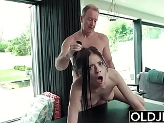 Hardcore Fuck For Teen Sucking cock swallows cum Getting her ass Fucked By Old Man