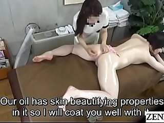 Pale Japanese milf prone oil massage sex with Subtitles