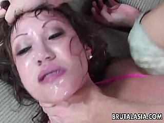 Her sweet ass gets anal fucked as she moans hard