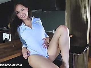 Super hot busty asian girl gets horny in the kitchen