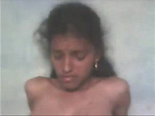 Tamil Schoolgirl Showing her Young Boobs and Hairy Pussy
