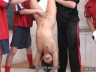 Slutty babe getting fucked by the lusty dudes