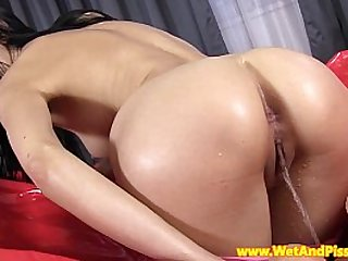 Pee fetish babe soaked in her urine