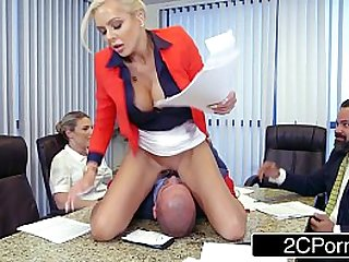 Douchebag Employee Eating Office Boss Nina Elle Pussy in the Meeting