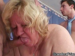 Granny double blowjob fuck