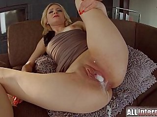 All Internal Threesome with double creampie for blonde newbie