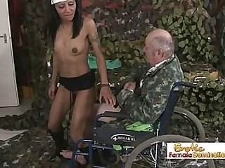 Grampa in a wheelchair gets fuck a hot babe