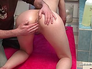 Busty french babe fingering fisting and masturbating with oil and toy