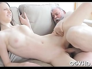 Old chap fucks her young juicy pussy
