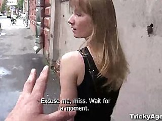 Tricky Agent A blond student Sonja is looking for some cash!