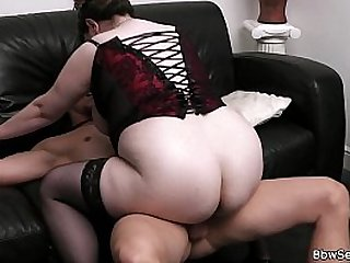 Busty bitch rides him while his wife leaves