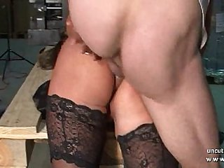 Horny mature hard double teamed and facialized