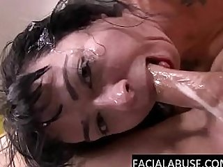 Nasty brunette whore gags gapes